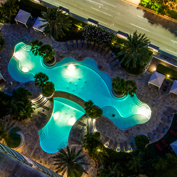 Overhead view of the pool